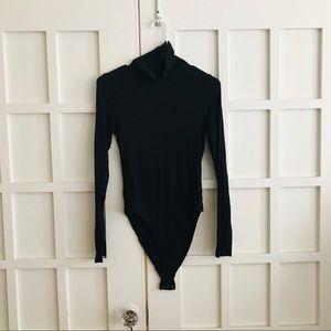 Aerie Black Ribbed Turtleneck Bodysuit